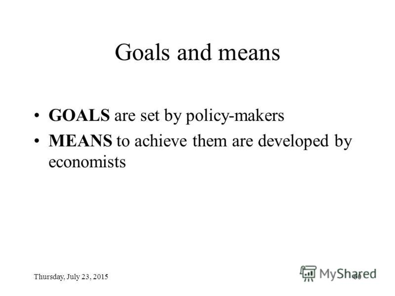 Thursday, July 23, 201559 The goals of economic policy: STABILITY Macroeconomic stability: –Stable price level –Stable national currency unit –Maintaining foreign trade balance Economic growth