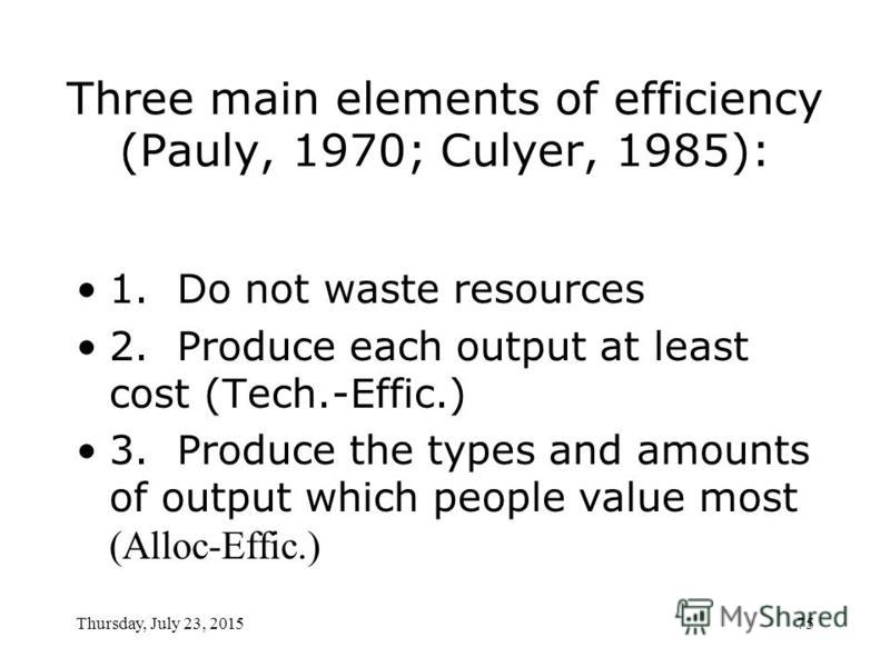 Thursday, July 23, 201574 Technical (productive) efficiency When the firm produces the maximum possible sustained output from a given set of inputs. ( S.Witter & T.Ensor ) Any given output produced employs minimal possible resources.