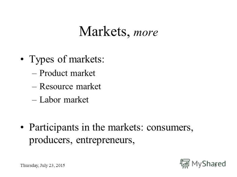 Thursday, July 23, 20155 Markets, more Types of markets: –Product market –Resource market –Labor market Participants in the markets: consumers, producers, entrepreneurs,