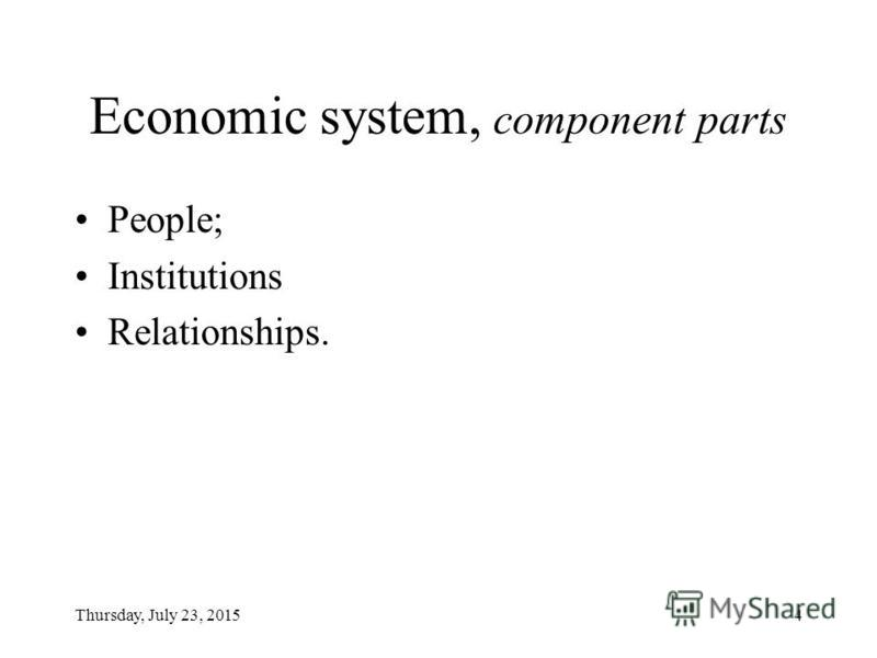 Thursday, July 23, 20154 Economic system, component parts People; Institutions Relationships.
