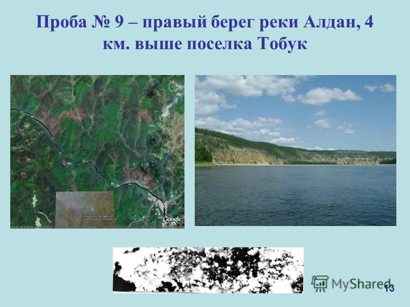 Проба 9 – правый берег реки Алдан, 4 км. выше поселка Тобук 13