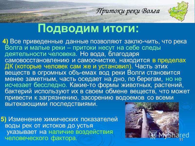 11 Подводим итоги: 4) Все приведенные данные позволяют заклю-чить, что река Волга и малые реки – притоки несут на себе следы деятельности человека. Но вода, благодаря самовосстановлению и самоочистке, находится в пределах ДК (которые человек сам же и