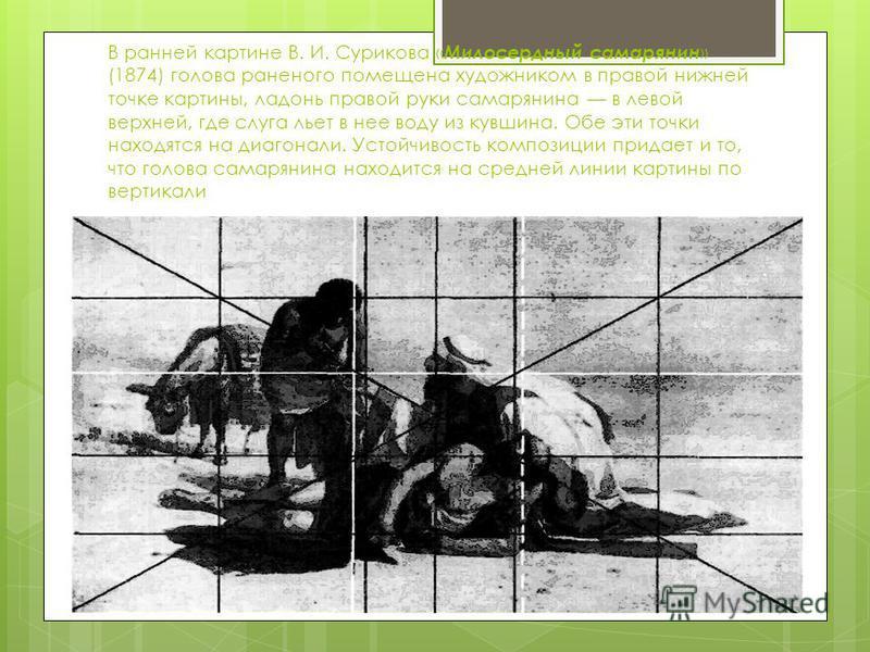 В ранней картине В. И. Сурикова « Милосердный самарянин » (1874) голова раненого помещена художником в правой нижней точке картины, ладонь правой руки самарянина в левой верхней, где слуга льет в нее воду из кувшина. Обе эти точки находятся на диагон