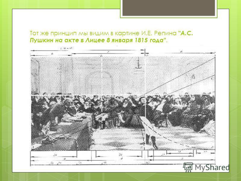 Тот же принцип мы видим в картине И.Е. Репина А.С. Пушкин на акте в Лицее 8 января 1815 года.