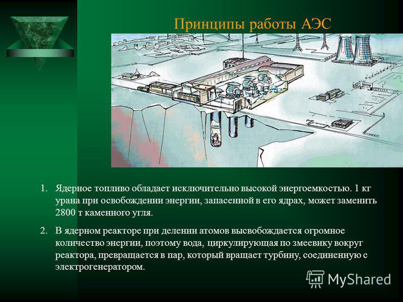 Принципы работы АЭС 1. Ядерное топливо обладает исключительно высокой энергоемкостью. 1 кг урана при освобождении энергии, запасенной в его ядрах, может заменить 2800 т каменного угля. 2. В ядерном реакторе при делении атомов высвобождается огромное