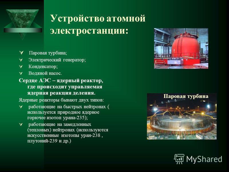Устройство атомной электростанции: Паровая турбина; Электрический генератор; Конденсатор; Водяной насос. Сердце АЭС – ядерный реактор, где происходит управляемая ядерная реакция деления. Ядерные реакторы бывают двух типов: работающие на быстрых нейтр