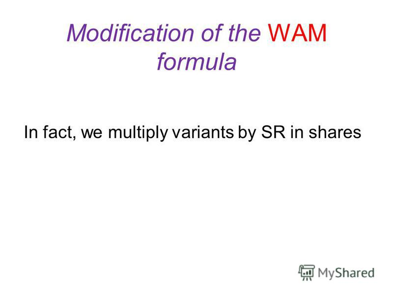 Modification of the WAM formula where