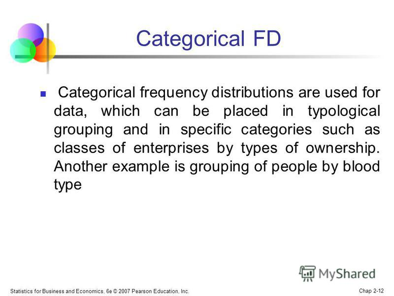 Statistics for Business and Economics, 6e © 2007 Pearson Education, Inc. Chap 2-12 Categorical FD Categorical frequency distributions are used for data, which can be placed in typological grouping and in specific categories such as classes of enterpr