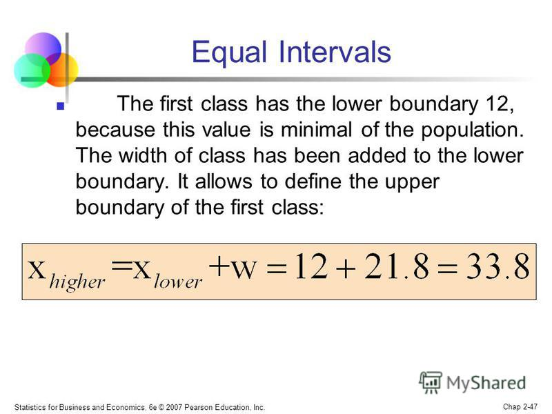 Statistics for Business and Economics, 6e © 2007 Pearson Education, Inc. Chap 2-47 Equal Intervals The first class has the lower boundary 12, because this value is minimal of the population. The width of class has been added to the lower boundary. It