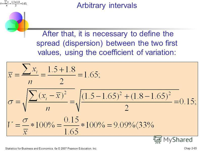 Statistics for Business and Economics, 6e © 2007 Pearson Education, Inc. Chap 2-65 Arbitrary intervals After that, it is necessary to define the spread (dispersion) between the two first values, using the coefficient of variation: