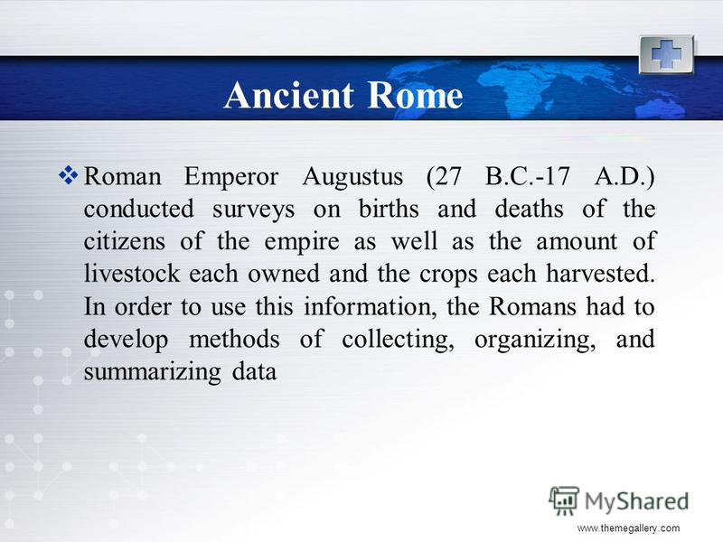 www.themegallery.com Ancient Rome Roman Emperor Augustus (27 B.C.-17 A.D.) conducted surveys on births and deaths of the citizens of the empire as well as the amount of livestock each owned and the crops each harvested. In order to use this informati