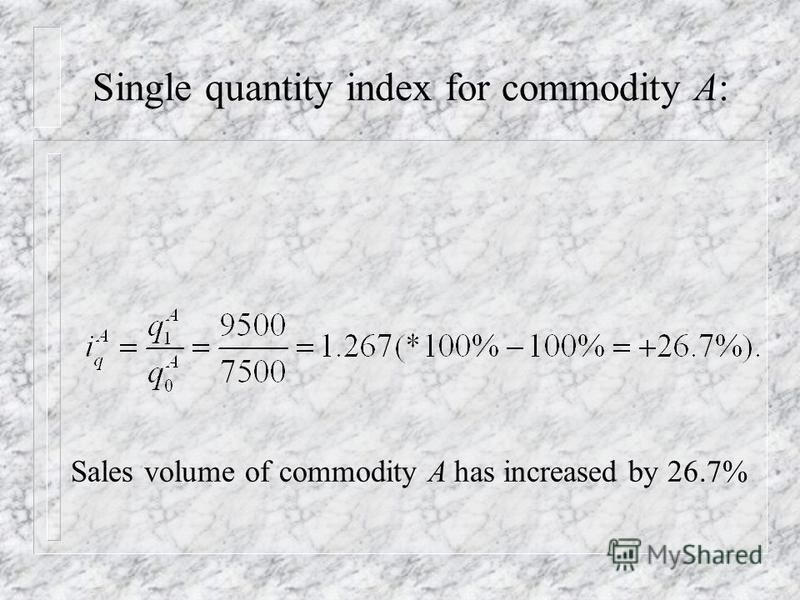 Single price index for commodity A: Price of commodity A has increased by 25%