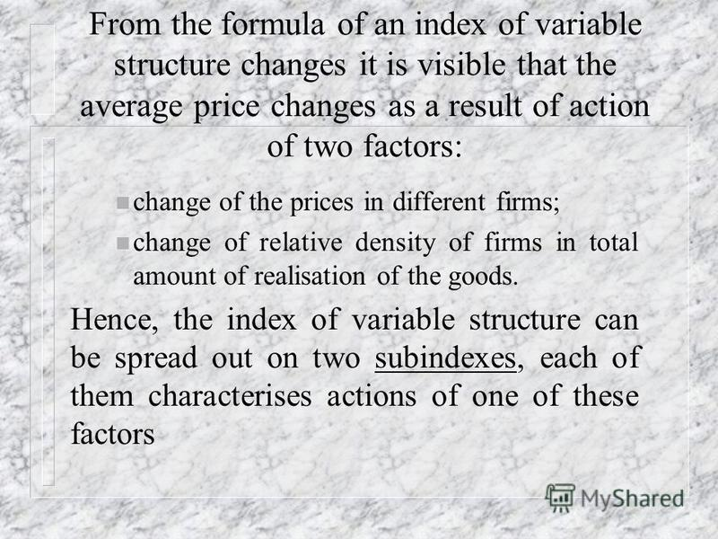 The average price index (the index of variable structure)