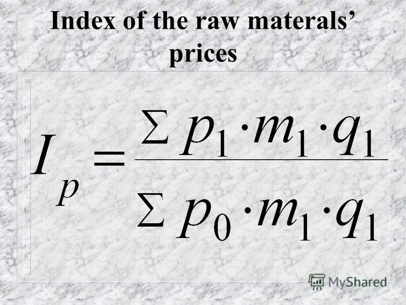 Index of specific expenses