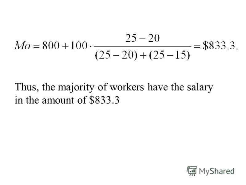 Example 7 The following data represent the grouping of workers by size of payment: The size of payment, USDNumber of workers,% 500-60010 600-70015 700-80020 800-90025 900-100015 1000-110010 More than 11005 Total:100 Find the mode Chap 3-127
