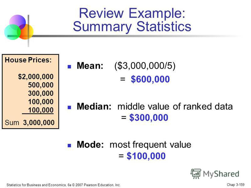 Statistics for Business and Economics, 6e © 2007 Pearson Education, Inc. Chap 3-158 Five houses on a hill by the beach Review Example House Prices: $2,000,000 500,000 300,000 100,000 100,000