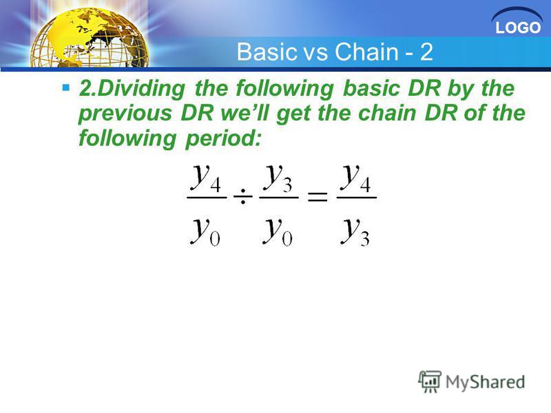 LOGO Basic vs Chain - 2 2.Dividing the following basic DR by the previous DR well get the chain DR of the following period: