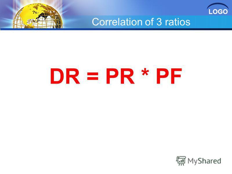 LOGO Correlation of 3 ratios DR = PR * PF