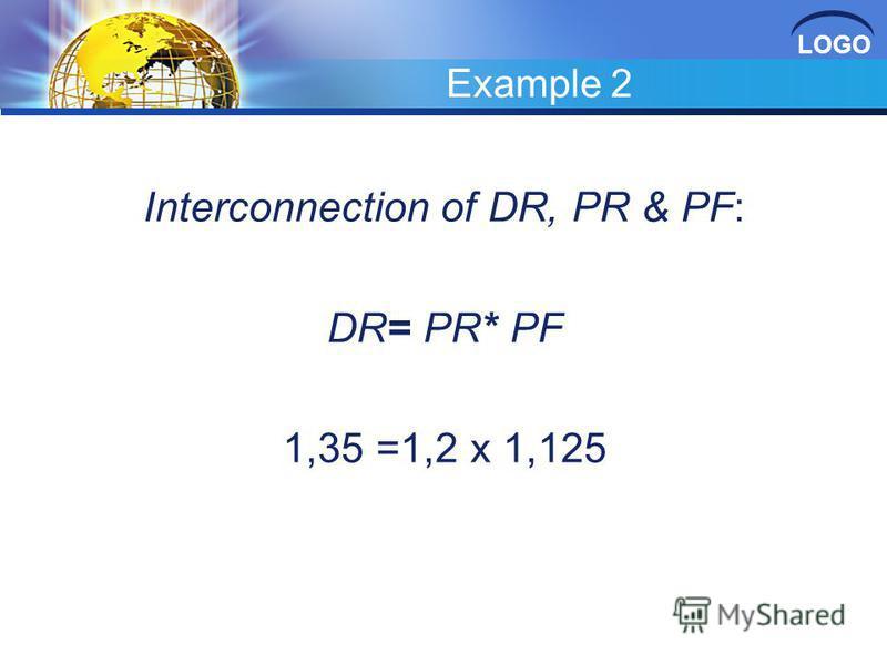 LOGO Example 2 Interconnection of DR, PR & PF: DR= PR* PF 1,35 =1,2 х 1,125