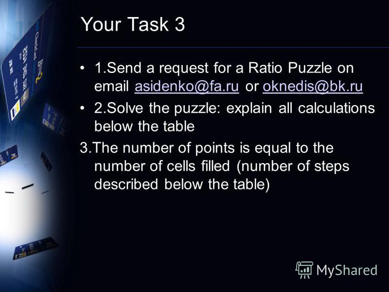 Your Task 3 1.Send a request for a Ratio Puzzle on email asidenko@fa.ru or oknedis@bk.ruasidenko@fa.ruoknedis@bk.ru 2.Solve the puzzle: explain all calculations below the table 3.The number of points is equal to the number of cells filled (number of