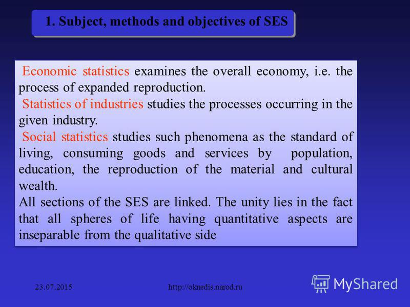 1. Basics of SES In SES the questions of application of aggregate statistical methods to a particular subject and object of study are studied 23.07.2015http://oknedis.narod.ru