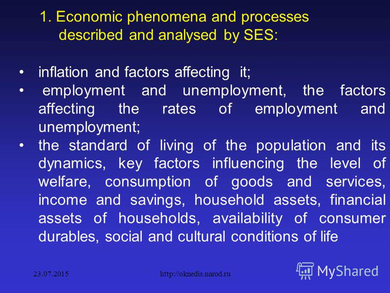 1. Economic phenomena and processes described and analysed by SES: results of production in key sectors of the economy and the most important commodities or commodity groups, as well as the provision of services; distribution of income; primary and s