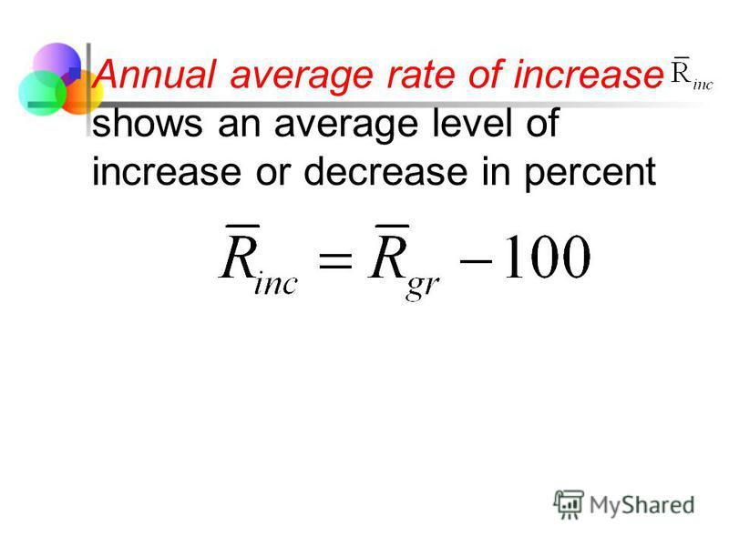 Annual average rate of increase shows an average level of increase or decrease in percent