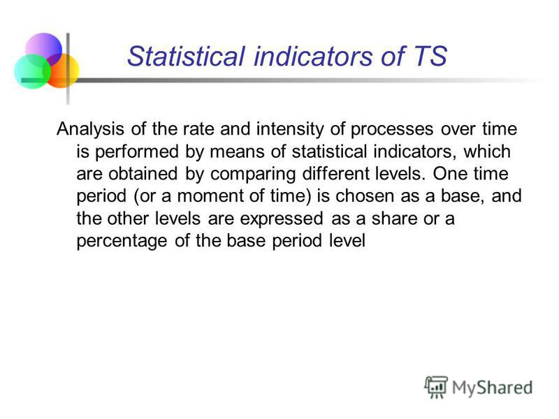 Analysis of the rate and intensity of processes over time is performed by means of statistical indicators, which are obtained by comparing different levels. One time period (or a moment of time) is chosen as a base, and the other levels are expressed
