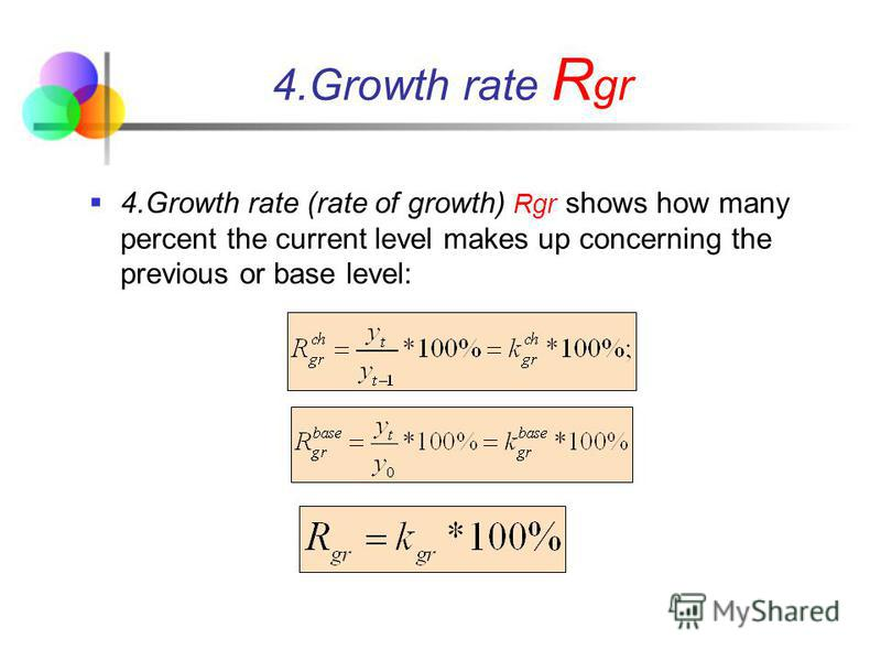 4.Growth rate (rate of growth) Rgr shows how many percent the current level makes up concerning the previous or base level: 4.Growth rate R gr