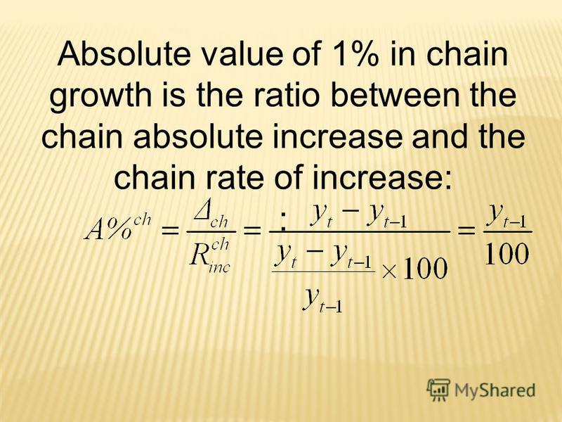 Absolute value of 1% in chain growth is the ratio between the chain absolute increase and the chain rate of increase: :