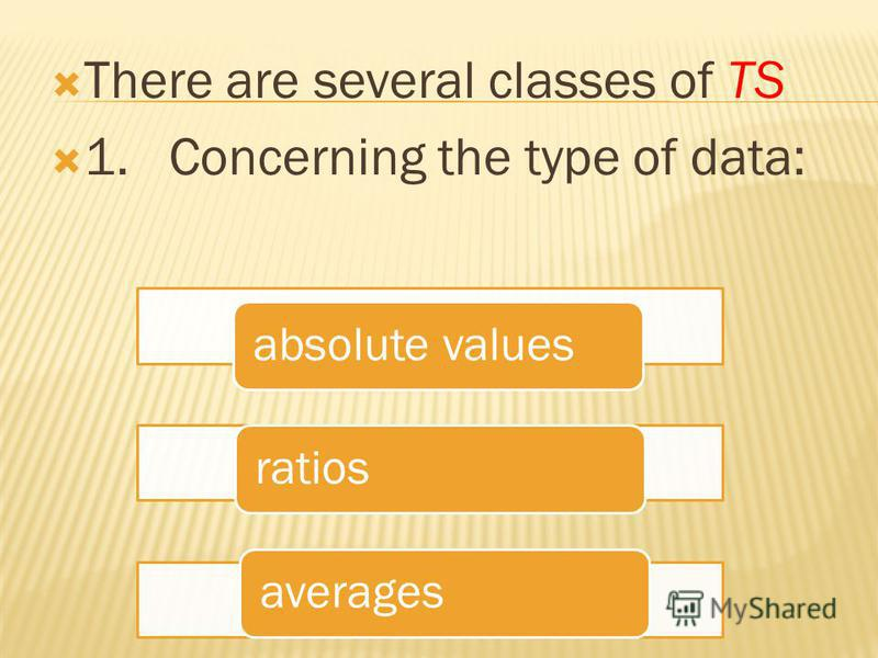 There are several classes of TS 1. Concerning the type of data: absolute valuesratiosaverages