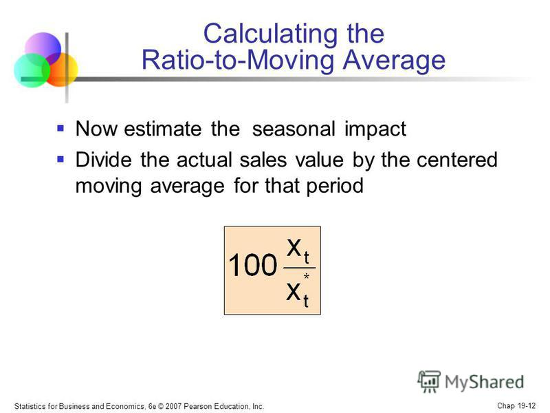 Statistics for Business and Economics, 6e © 2007 Pearson Education, Inc. Chap 19-12 Calculating the Ratio-to-Moving Average Now estimate the seasonal impact Divide the actual sales value by the centered moving average for that period