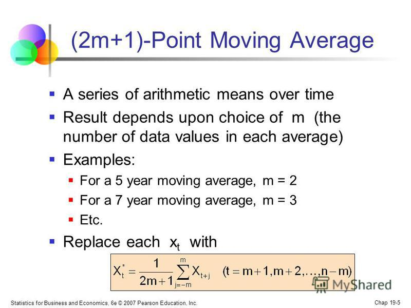 Statistics for Business and Economics, 6e © 2007 Pearson Education, Inc. Chap 19-5 (2m+1)-Point Moving Average A series of arithmetic means over time Result depends upon choice of m (the number of data values in each average) Examples: For a 5 year m