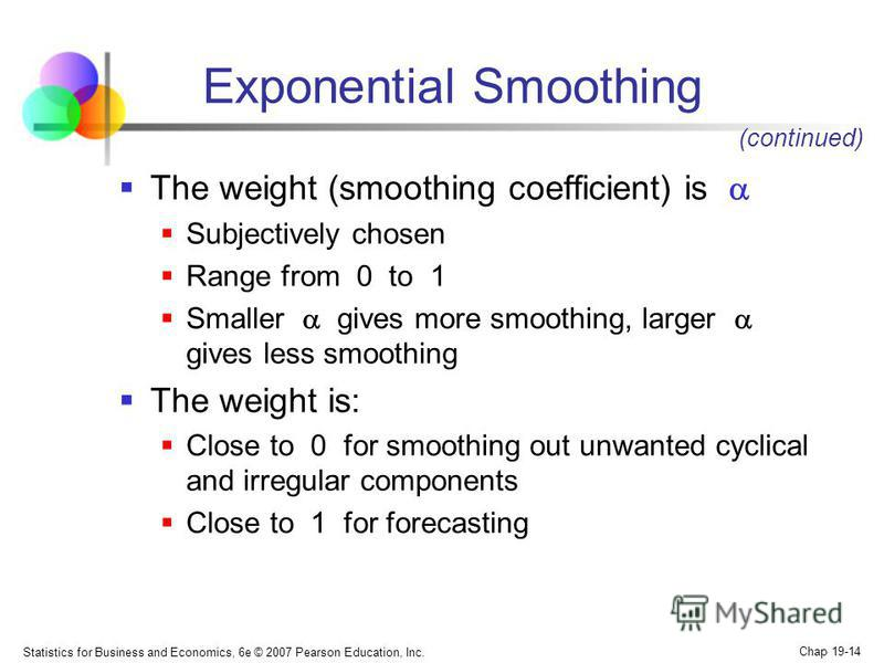 Statistics for Business and Economics, 6e © 2007 Pearson Education, Inc. Chap 19-14 Exponential Smoothing The weight (smoothing coefficient) is Subjectively chosen Range from 0 to 1 Smaller gives more smoothing, larger gives less smoothing The weight
