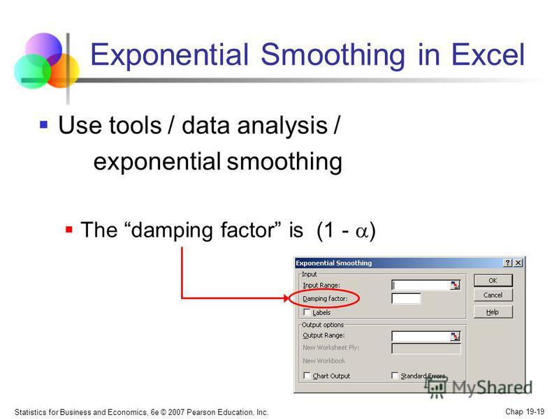 Statistics for Business and Economics, 6e © 2007 Pearson Education, Inc. Chap 19-19 Exponential Smoothing in Excel Use tools / data analysis / exponential smoothing The damping factor is (1 - )