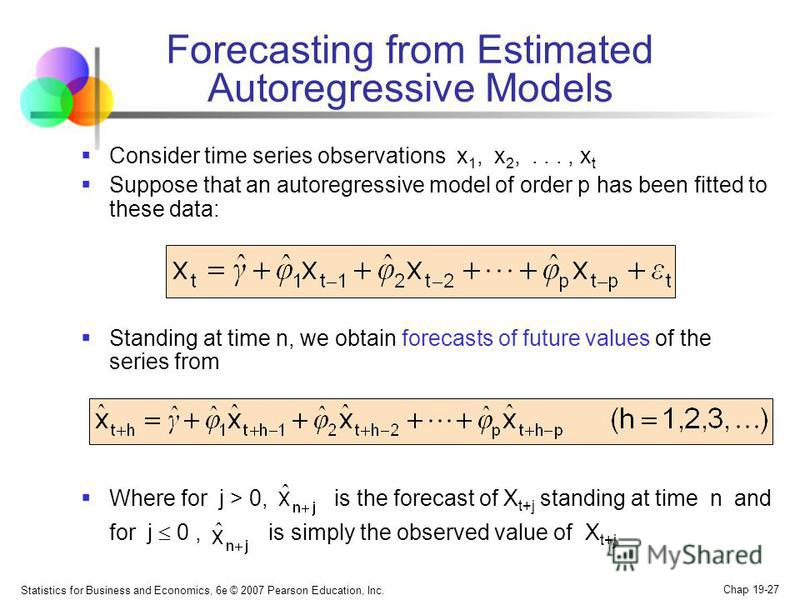 Statistics for Business and Economics, 6e © 2007 Pearson Education, Inc. Chap 19-27 Forecasting from Estimated Autoregressive Models Consider time series observations x 1, x 2,..., x t Suppose that an autoregressive model of order p has been fitted t