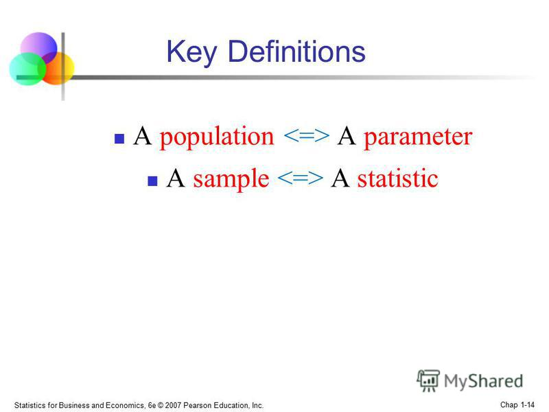 Statistics for Business and Economics, 6e © 2007 Pearson Education, Inc. Chap 1-14 Key Definitions A роpulation A parameter A sample A statistic
