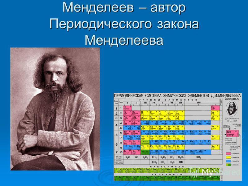 Менделеев – автор Периодического закона Менделеева