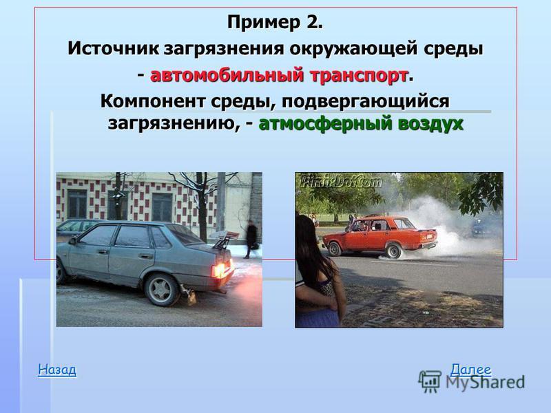 Пример 2. Источник загрязнения окружающей среды - автомобильный транспорт. Компонент среды, подвергающийся загрязнению, - атмосферный воздух Далее Назад