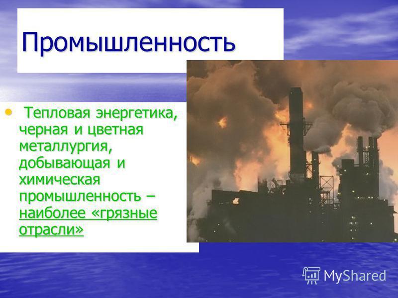 Промышленность Тепловая энергетика, черная и цветная металлургия, добывающая и химическая промышленность – наиболее «грязные отрасли» Тепловая энергетика, черная и цветная металлургия, добывающая и химическая промышленность – наиболее «грязные отрасл