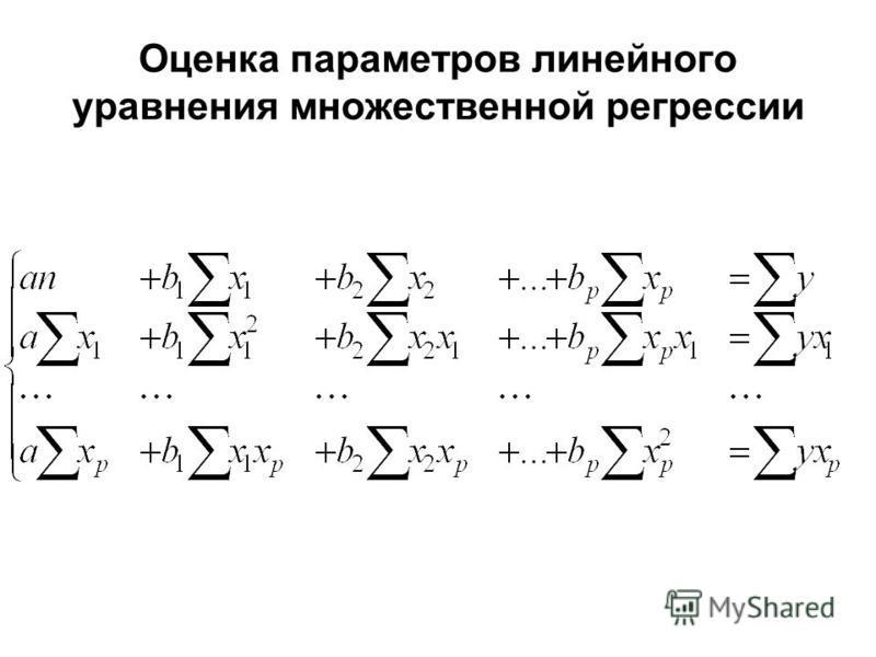 Оценка параметров линейного уравнения множественной регрессии