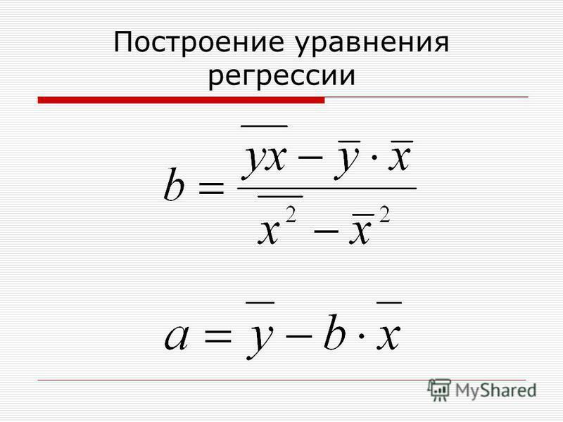 Построение уравнения регрессии