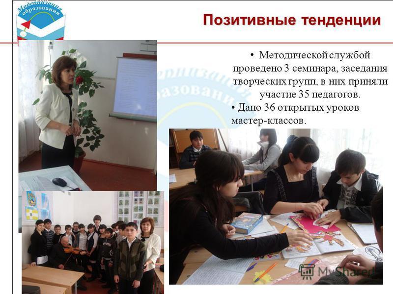 Позитивные тенденции Методической службой проведено 3 семинара, заседания творческих групп, в них приняли участие 35 педагогов. Дано 36 открытых уроков мастер-классов.