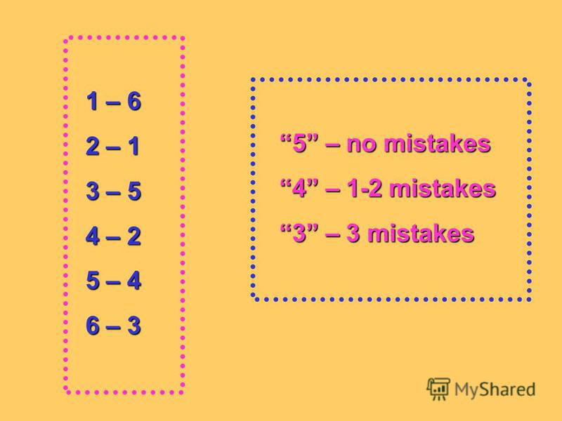 1 – 6 1 – 6 2 – 1 2 – 1 3 – 5 3 – 5 4 – 2 4 – 2 5 – 4 5 – 4 6 – 3 6 – 3 5 – no mistakes 5 – no mistakes 4 – 1-2 mistakes 4 – 1-2 mistakes 3 – 3 mistakes 3 – 3 mistakes