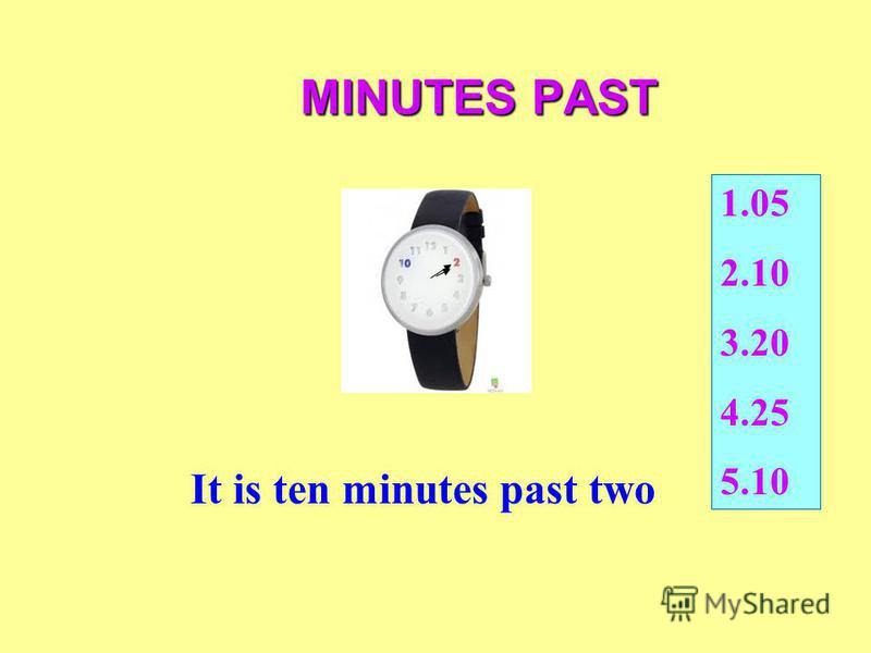 MINUTES PAST It is ten minutes past two 1.05 2.10 3.20 4.25 5.10