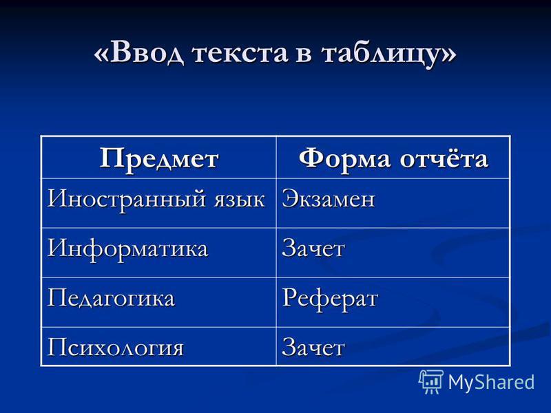 «Ввод текста в таблицу» Предмет Форма отчёта Иностранный язык Экзамен Информатика Зачет Педагогика Реферат Психология Зачет