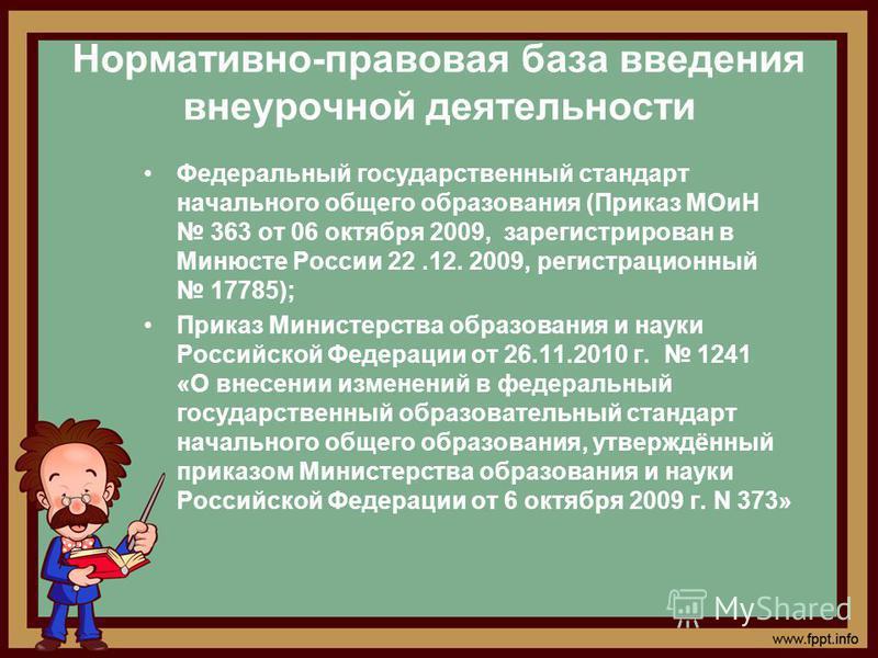 Нормативно-правовая база введения внеурочной деятельности Федеральный государственный стандарт начального общего образования (Приказ МОиН 363 от 06 октября 2009, зарегистрирован в Минюсте России 22.12. 2009, регистрационный 17785); Приказ Министерств