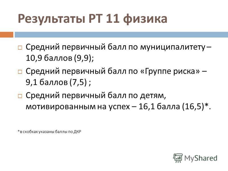 Результаты РТ 11 физика Средний первичный балл по муниципалитету – 10,9 баллов (9,9); Средний первичный балл по « Группе риска » – 9,1 баллов (7,5) ; Средний первичный балл по детям, мотивированным на успех – 16,1 балла (16,5)*. * в скобках указаны б
