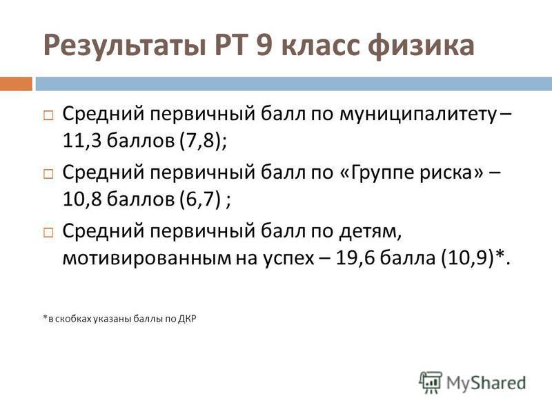 Результаты РТ 9 класс физика Средний первичный балл по муниципалитету – 11,3 баллов (7,8); Средний первичный балл по « Группе риска » – 10,8 баллов (6,7) ; Средний первичный балл по детям, мотивированным на успех – 19,6 балла (10,9)*. * в скобках ука