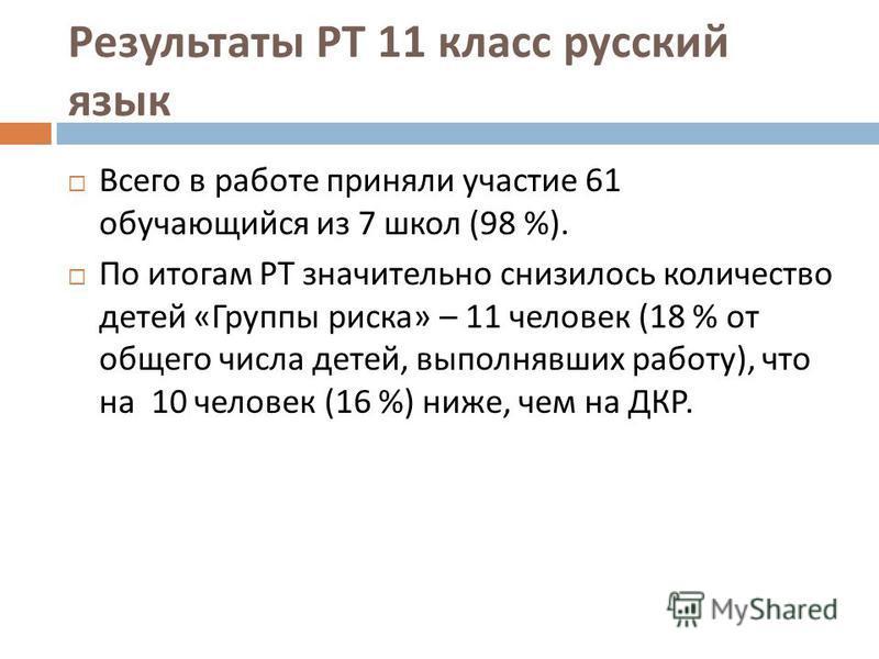 Результаты РТ 11 класс русский язык Всего в работе приняли участие 61 обучающийся из 7 школ (98 %). По итогам РТ значительно снизилось количество детей « Группы риска » – 11 человек (18 % от общего числа детей, выполнявших работу ), что на 10 человек